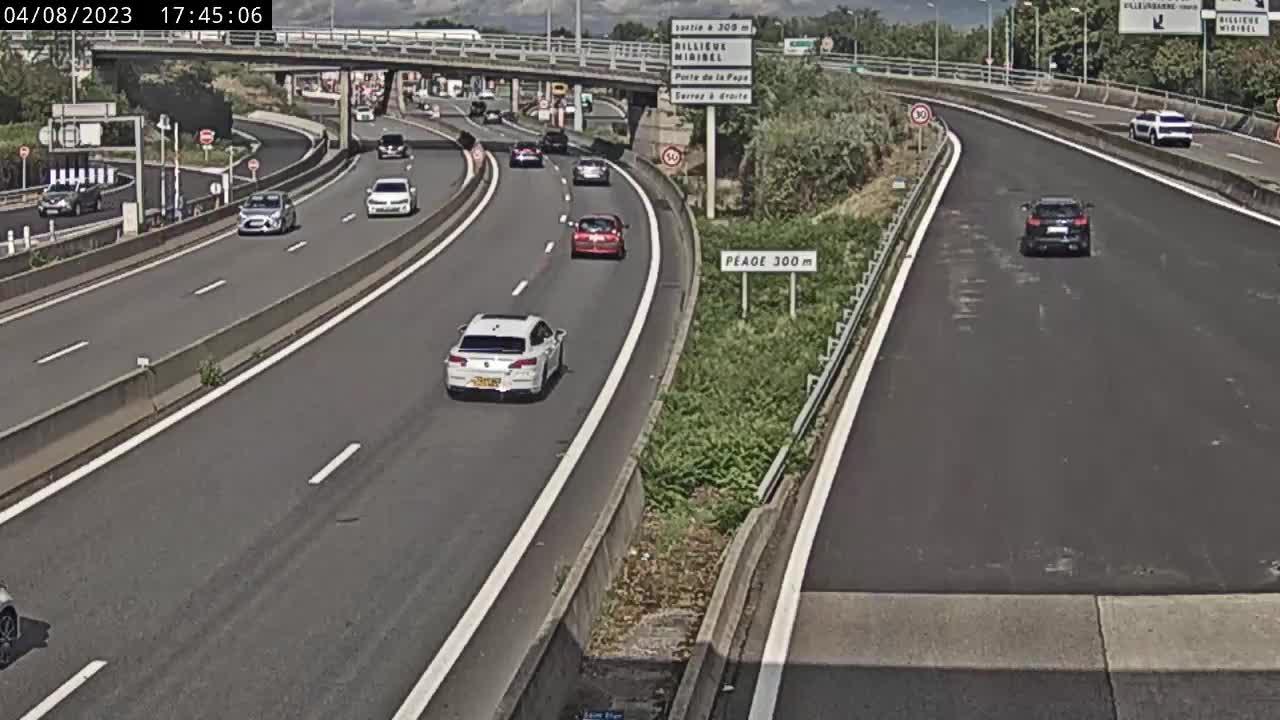Caméra autoroute France - Boulevard périphérique nord de Lyon, Porte du Valvert à la jonction avec l'A6