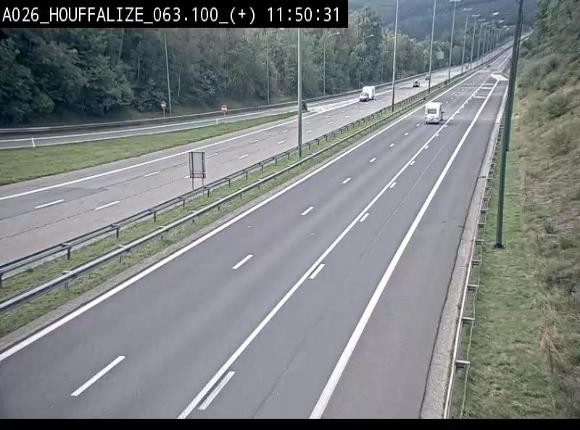Webcam autoroute des Ardennes (E25/A26) à hauteur d'Houffalize. Vue orientée vers Baraque de Fraiture